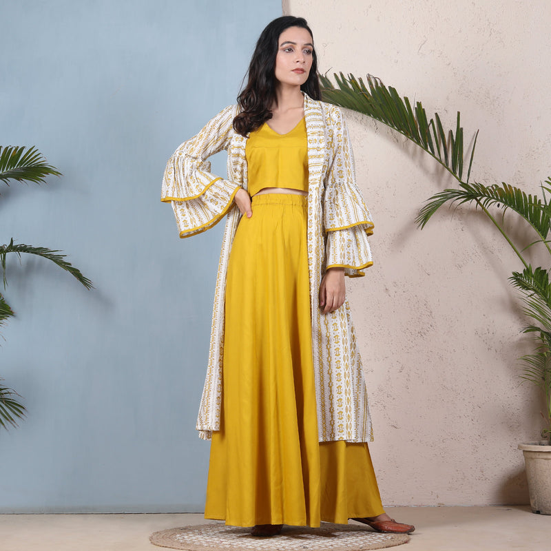 Yellow Crop Top Skirt Set with Tiered Bell Sleeves Shrug