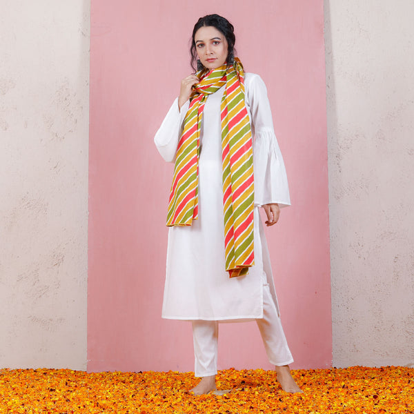 Yellow Olive & Peach Leheriya Inspired Dupatta with Bell Sleeved Salwar Kurta