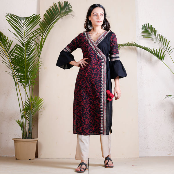 Black Jaal Printed Angrakha Bell Sleeves Kurta with Tassels