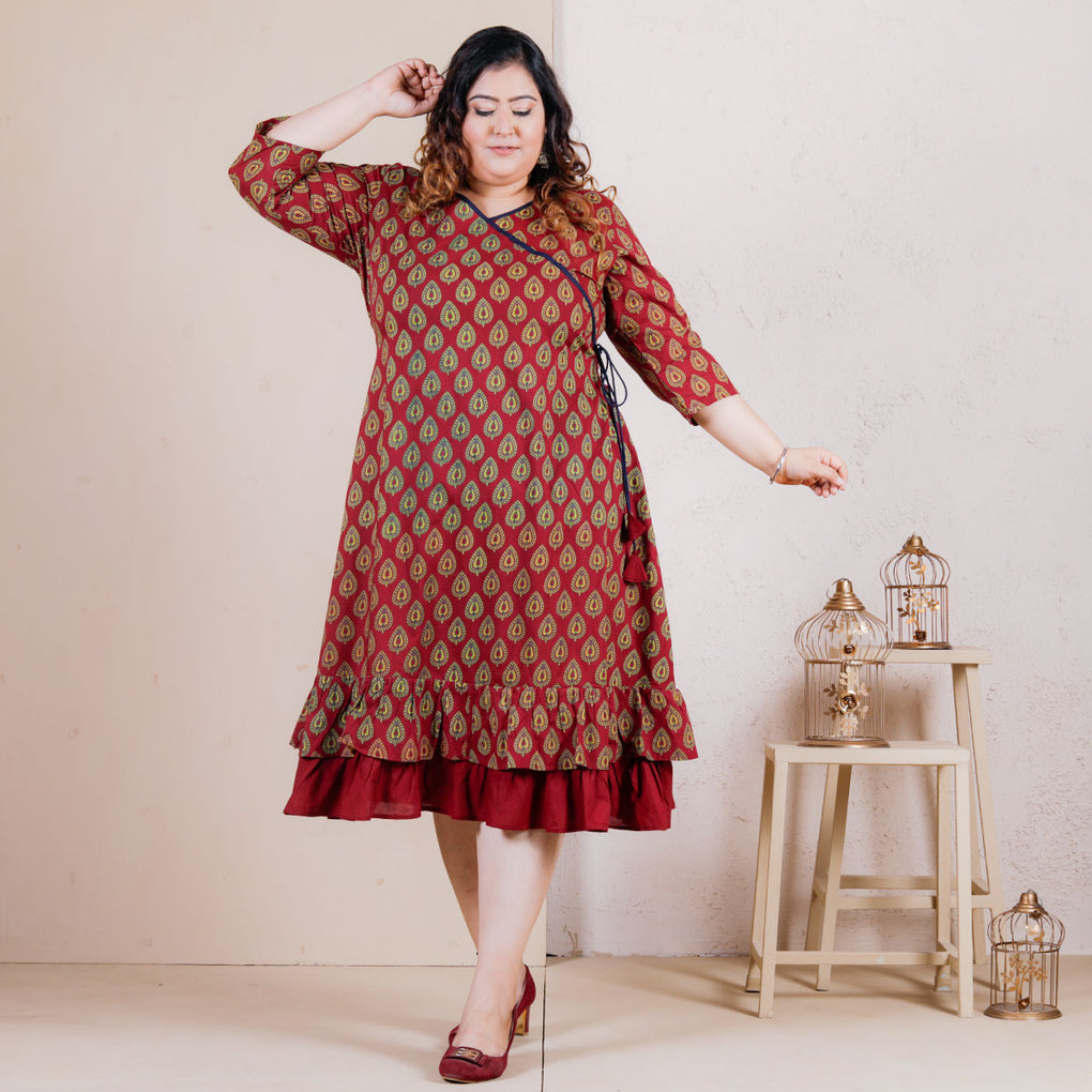 Maroon Betel Leaf Double Frill Angrakha Dress - SOY