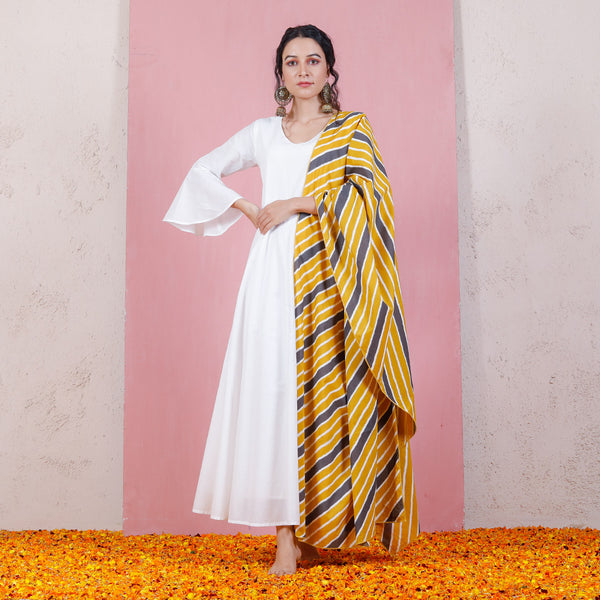 Yellow White & Grey Inspired Dupatta with Bell Sleeved Kalidaar Dress