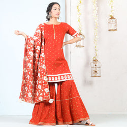 Rust Floral Tiered Gharara Kurta Set