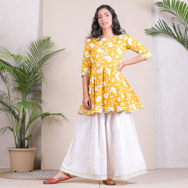 Yellow & White Peplum Sharara Cotton Set with Gota Details