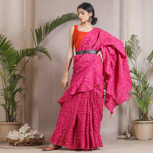 Magenta Gold Printed Ruffle Cotton Saree