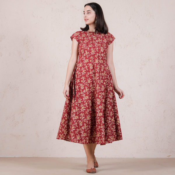 Maroon Floral Printed Flared Dress