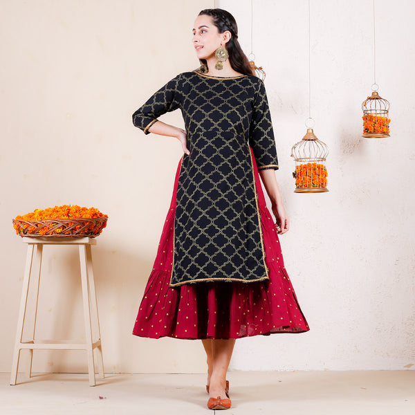 Black & Maroon Over Layered Tiered Kurta Dress with Gota Details