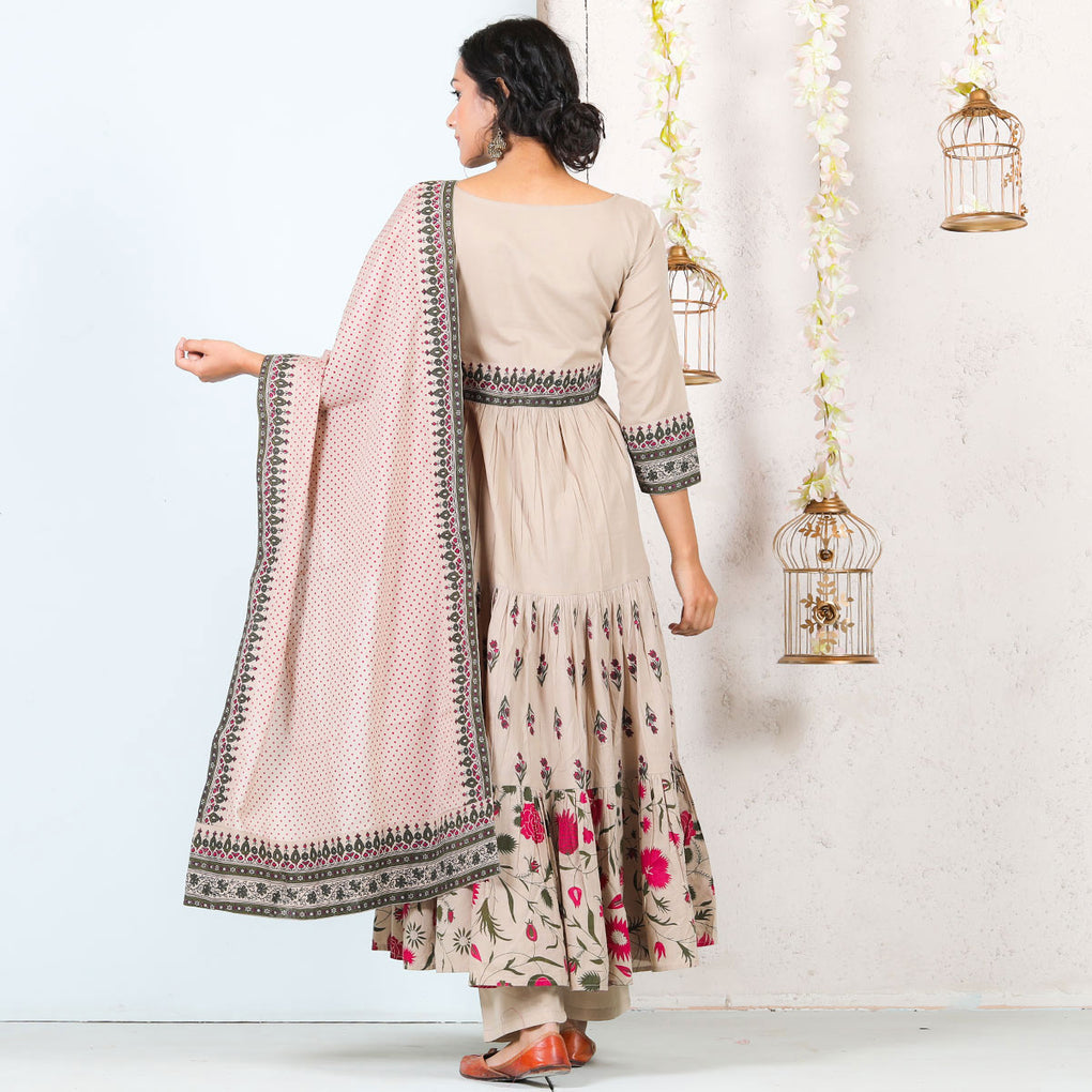Beige Floral Tiered Cotton Full Kurta Set