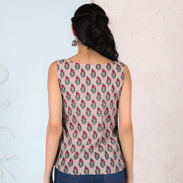 Beige & Magenta Floral Buti Printed Sleeveless Top