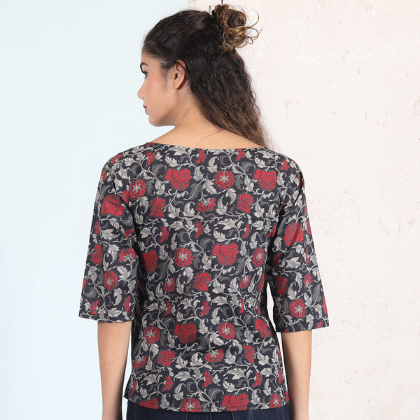 Black Rose Garden Printed Top