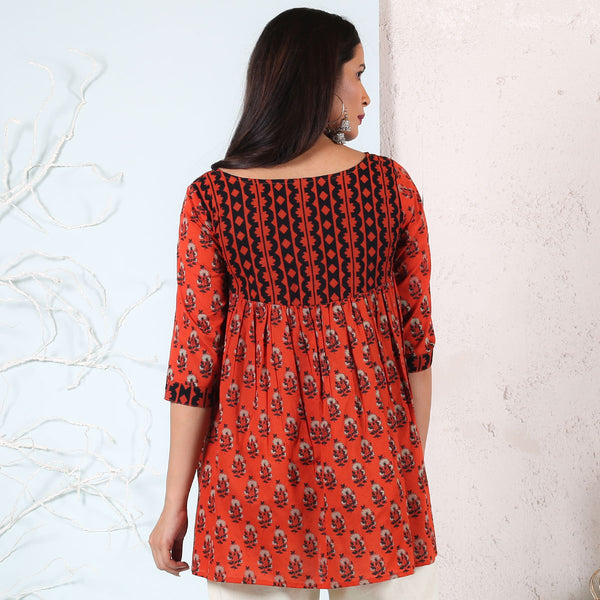 Rust & Black Yoke Gathered Tunic