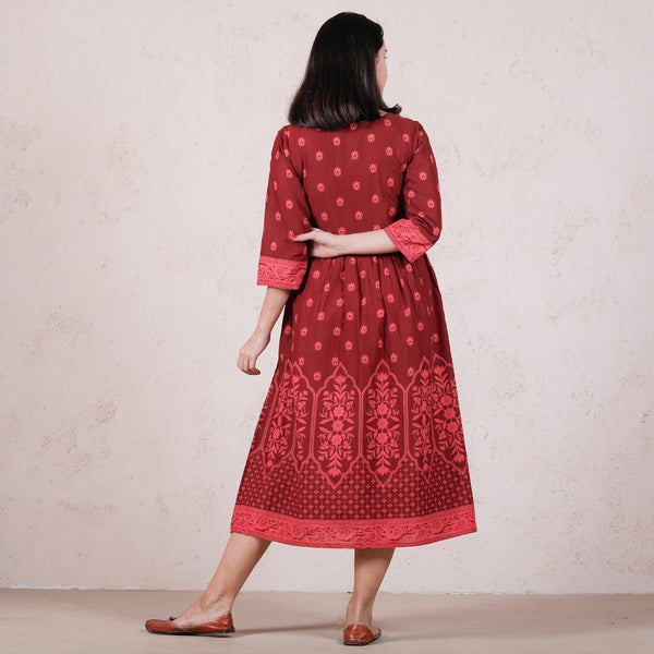 Maroon Mughal Floral Gathered Dress