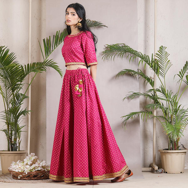 Golapi Lehenga Crop Top Set
