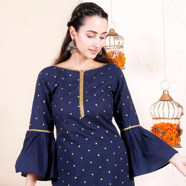 Blue Gold Polka Cotton Kurta with Frilled Sleeves & Pants