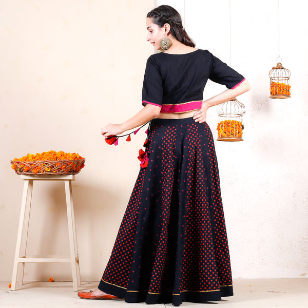 Black Polka Festive Lehenga Crop Top Set