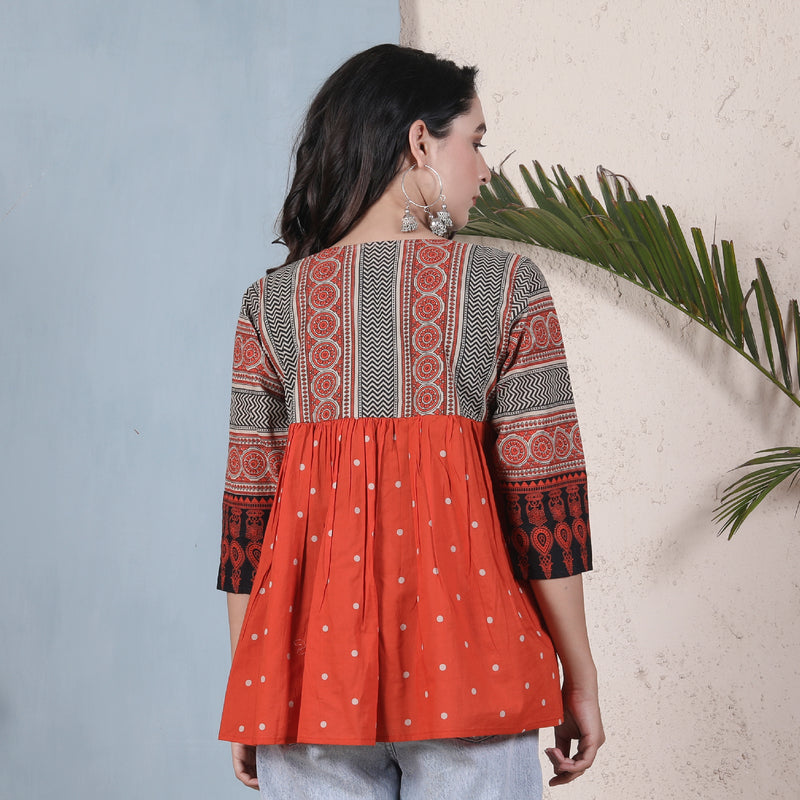 Rust & Black Ajrakh Inspired Front Open Gathered Shrug