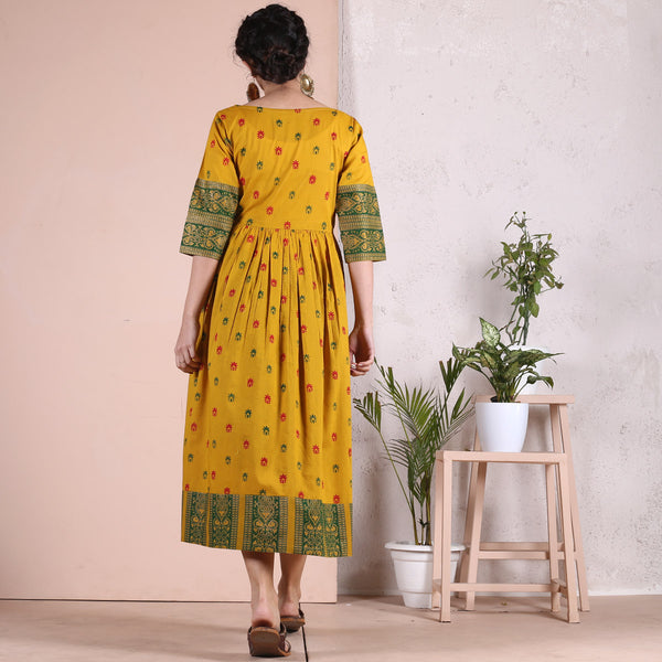 Yellow Sanganer Hand Printed Cotton Gather Dress with Heavy Border Details