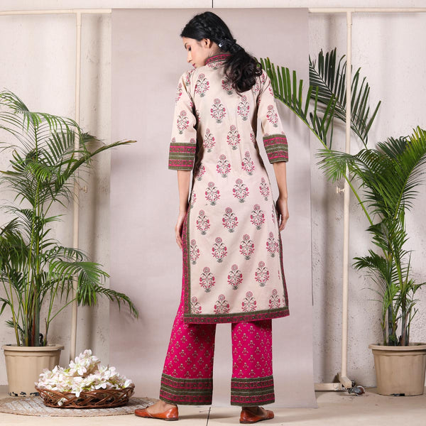 Beige Bagh Front Open Shirt Kurta Set with Magenta Buti Pants