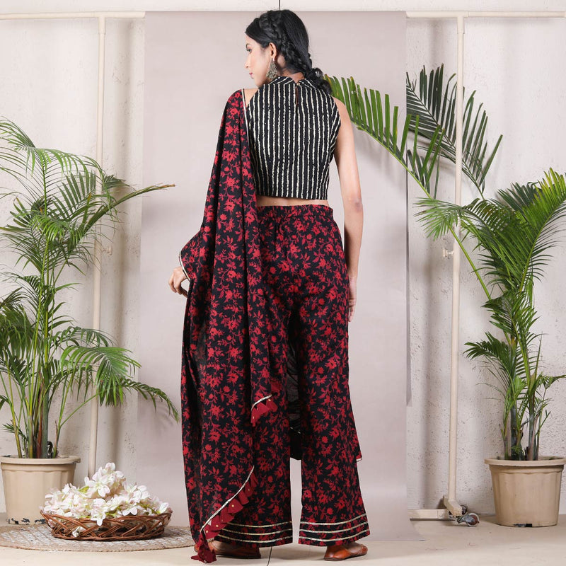 Dark Rose Printed Pant Saree with Gota and Tassels