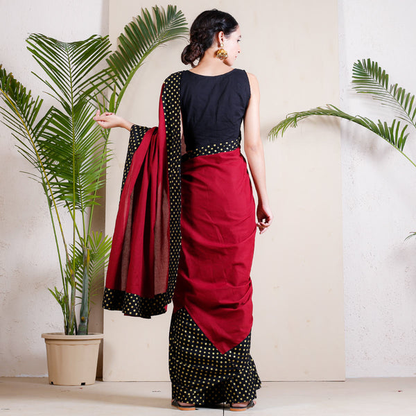 Maroon & Black Polka Printed Froth Saree