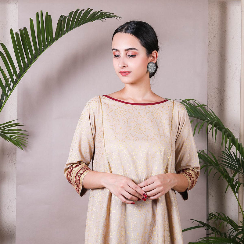 Beige Gold Printed Asymmetric Kurta with Palazzo