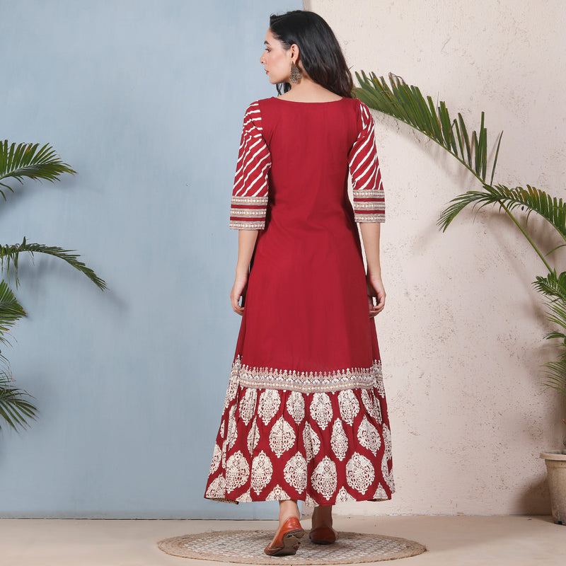 Maroon & White Kalidaar Dress with Hem Frill & Yoke Details