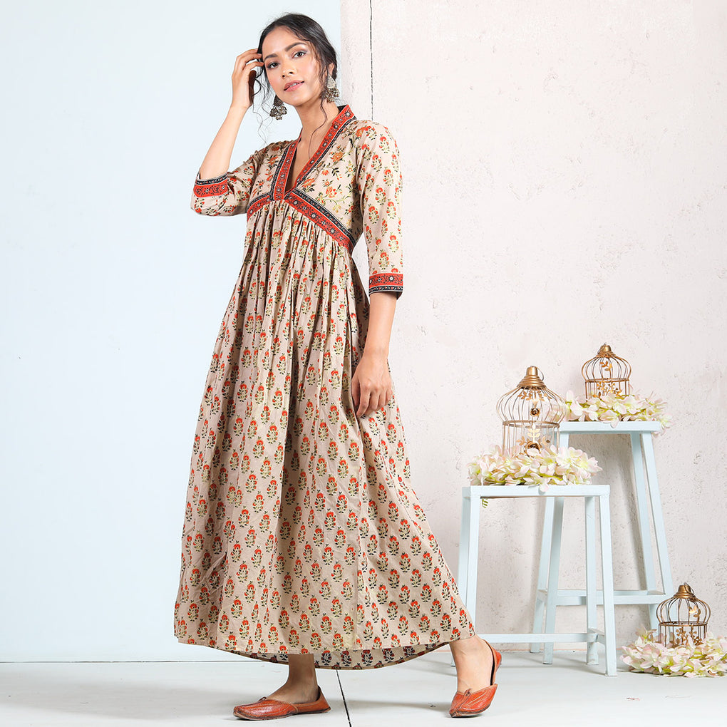 Beige Buta V Neck Cotton Gathered Dress