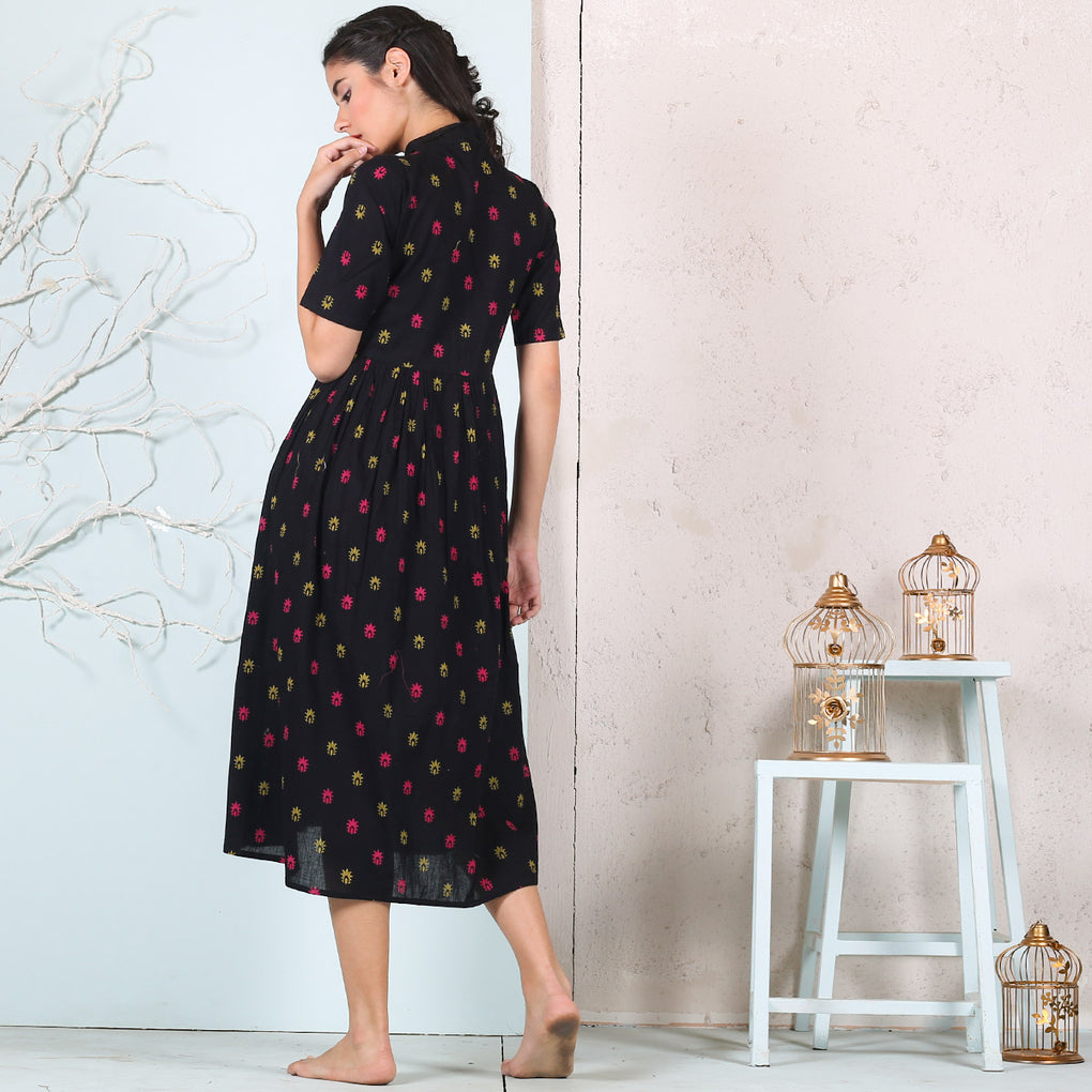 Black Buta Cotton Gather Dress with Neck Tie Up