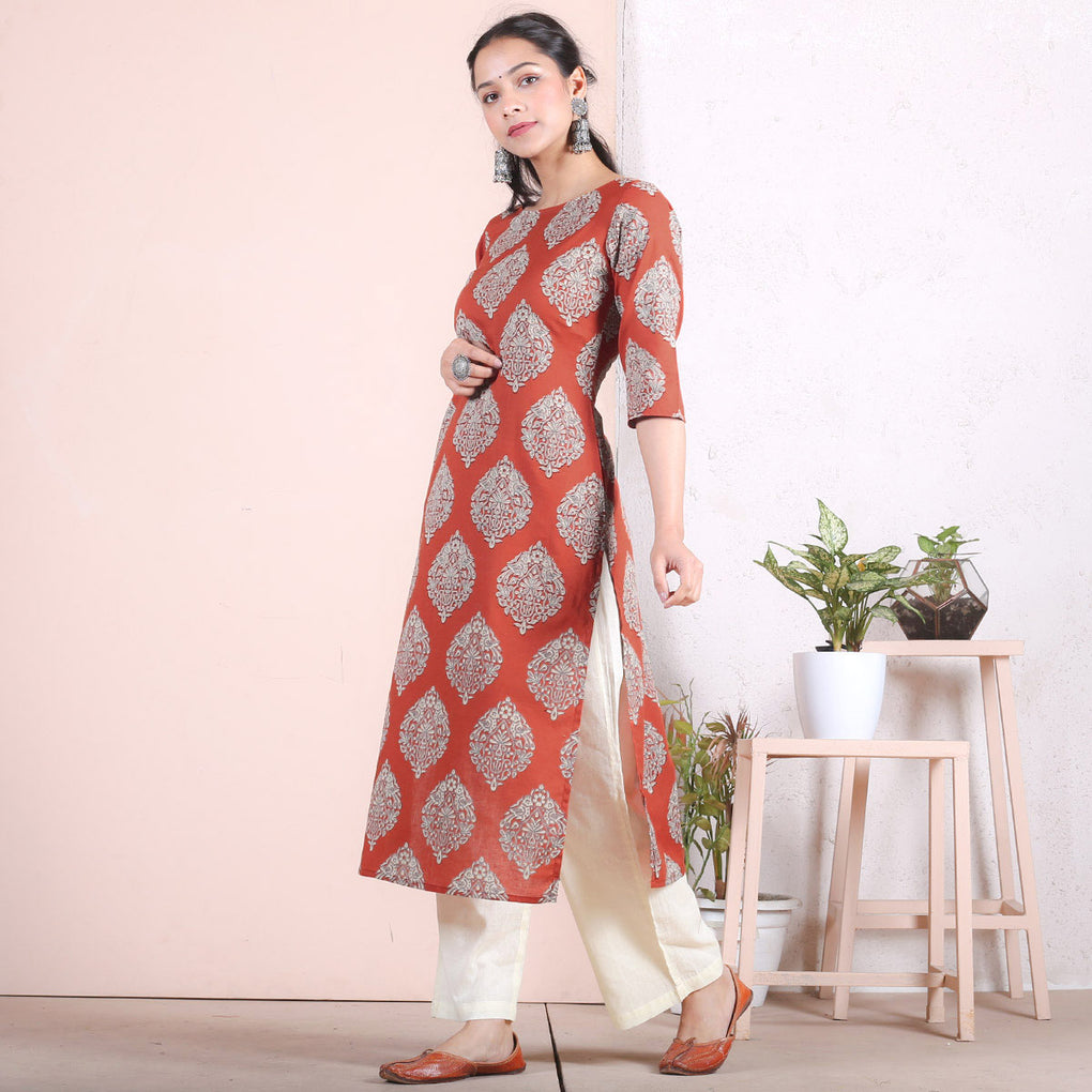 Rustorange & Beige Traditional Straight Cotton Kurta