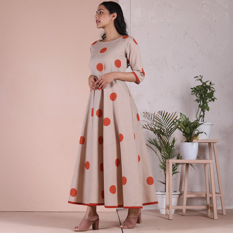 Beige & Rustorange Printed Polka Dot Dress