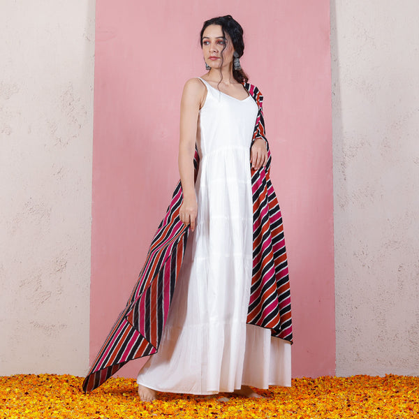 Rust & Pink Leheriya Inspired Dupatta with White Tiered Dress
