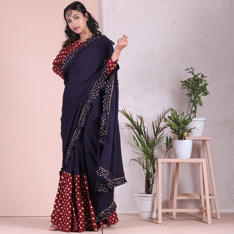 Blue & Maroon Frill & Froth Gold Printed Saree