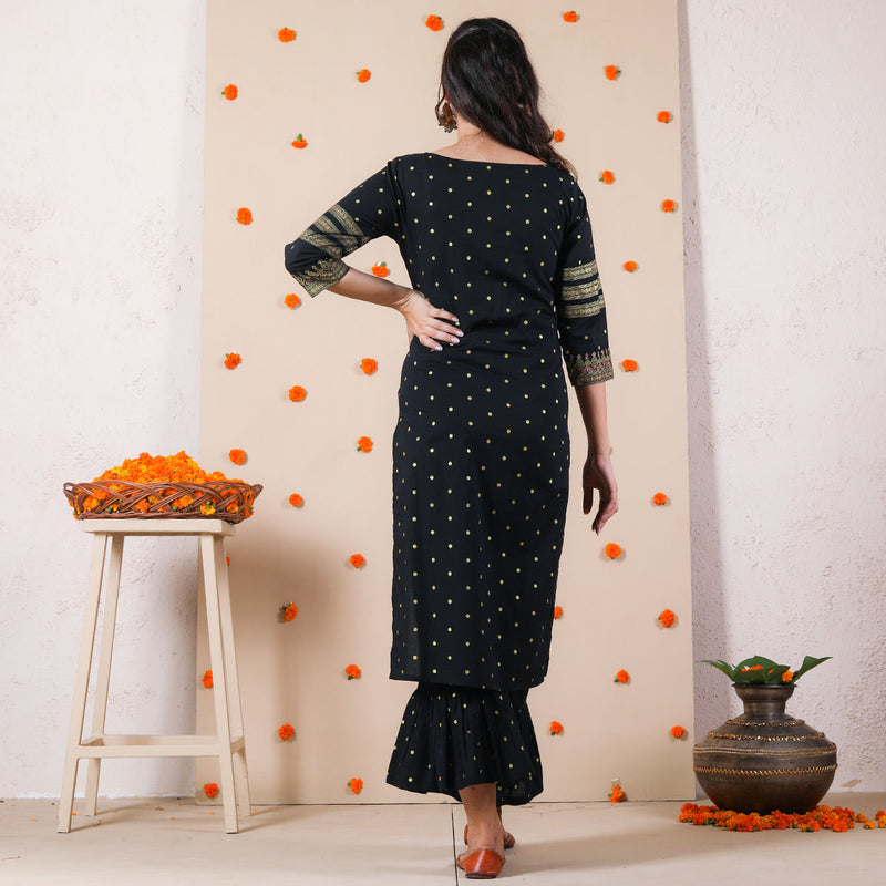 Black Afghani Kurta with Frilled Pants & Gota Work