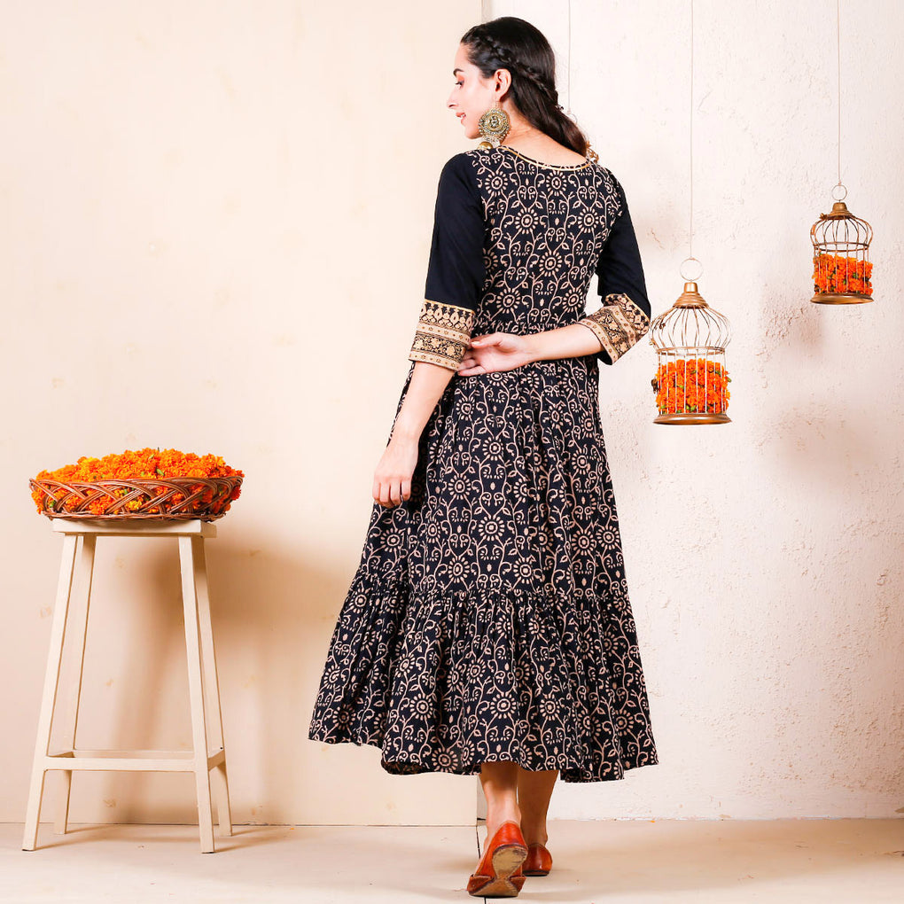 Black Bagh Printed Festive Tiered Cotton Dress with Yoke Details