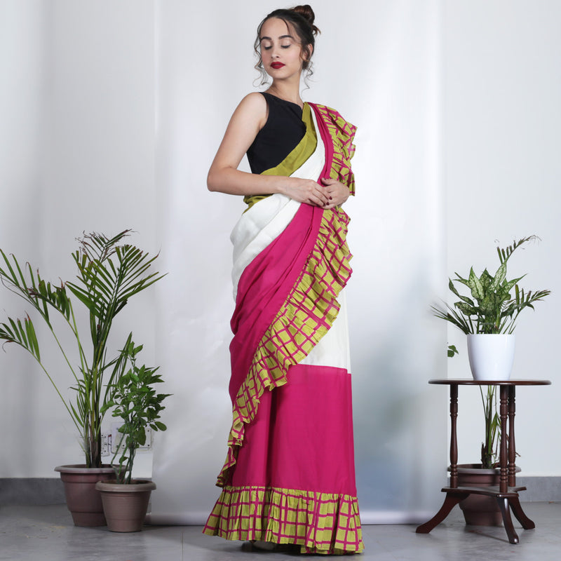 Pink, Off White & Olive Colour Blocking with Checks Frills Saree