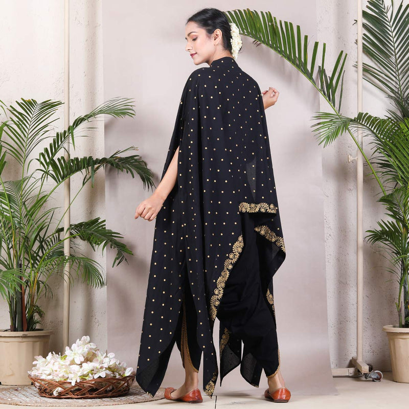 Black & Gold Dhoti Cape Set with Tassel Details
