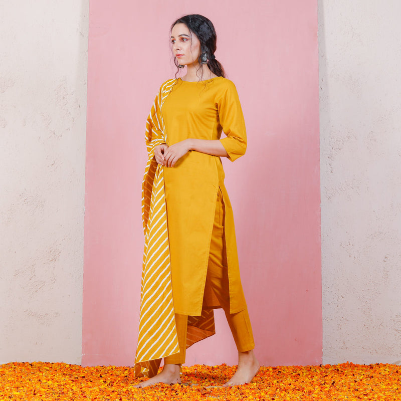 Yellow Kurta Set with Cigarette Pants & Dupatta