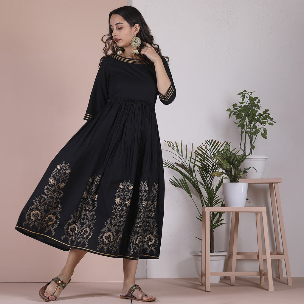 Black Hand Printed Gathered Cotton Dress with Gota Details
