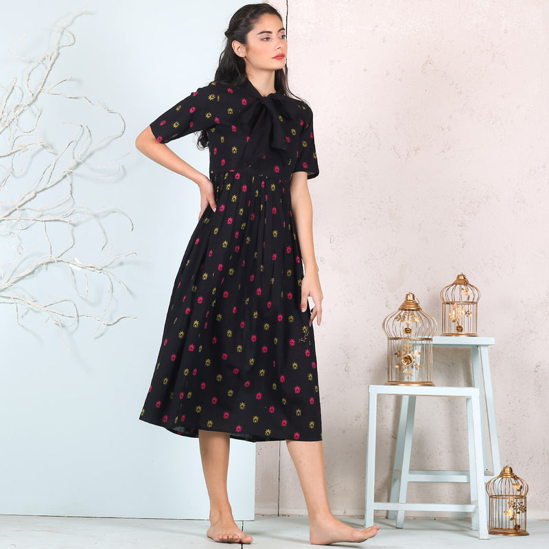 Black Buta Gather Dress with Neck Tie Up