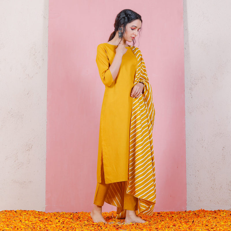 Yellow Kurta Set with Straight Pants & Dupatta