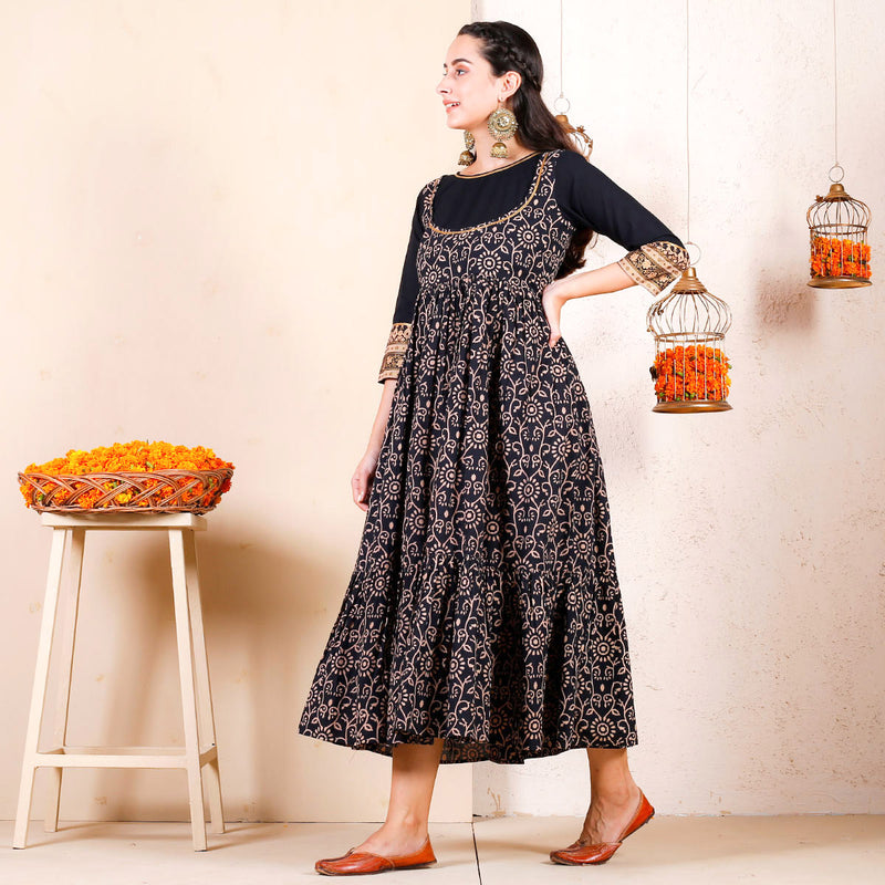 Black Bagh Printed Festive Tiered Dress with Yoke Details