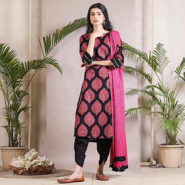 Black Buta & Striped Dhoti Kurta Dupatta Set with Tassel Details