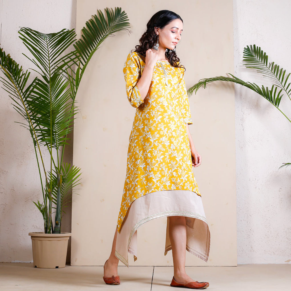 Mellow Yellow Asymmetric Cotton Dress with Beige Underlayer