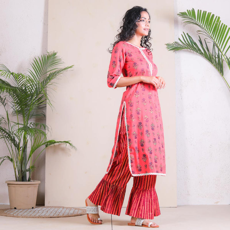 Peach Meadow Floral Frill Pant with Kurta Set
