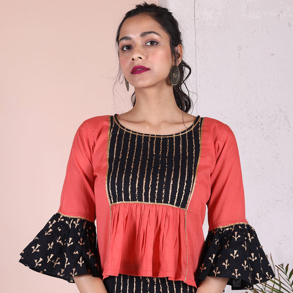 Peach with Black Gold Printed Yoke & Frill Details Blouse