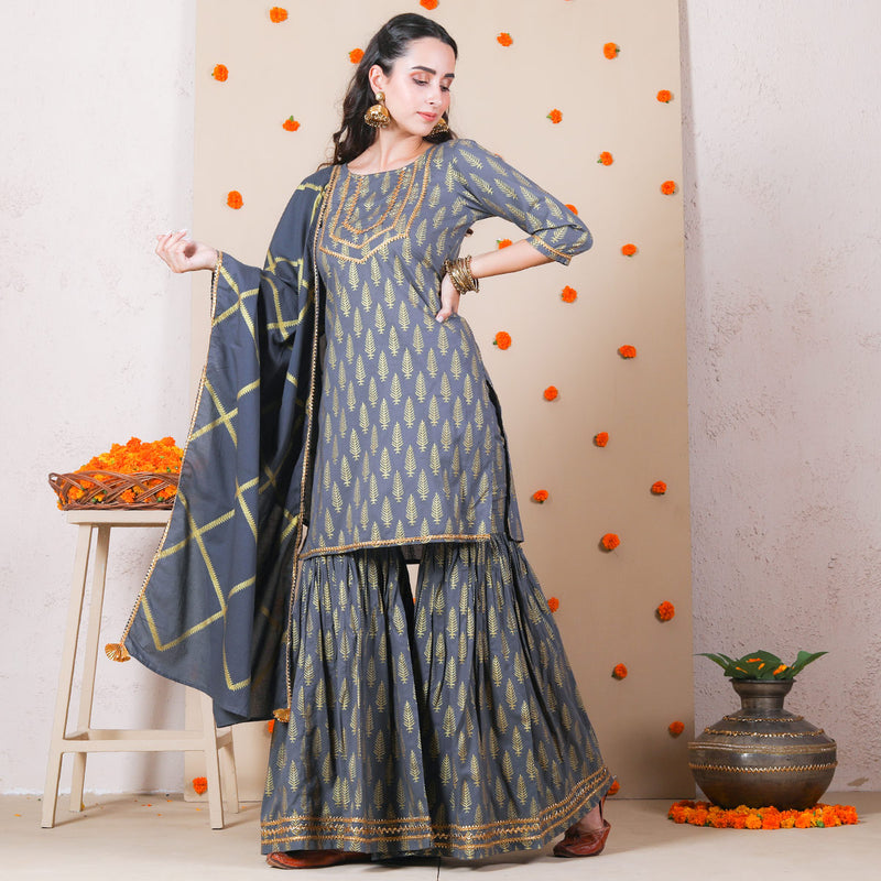 Grey Traditional Festive Gharara Kurta Dupatta Set with Gota Work