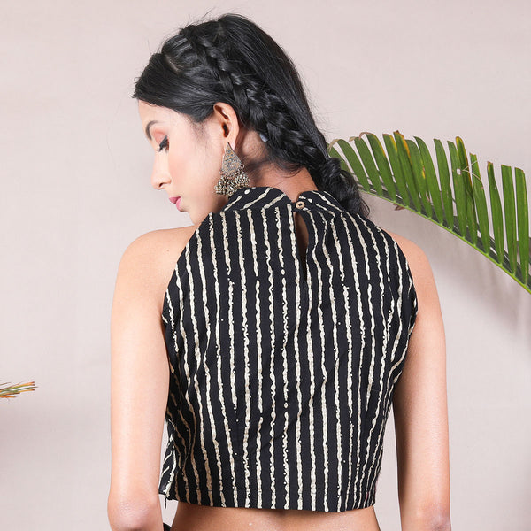 Black Stripes Printed Halter Neck Blouse