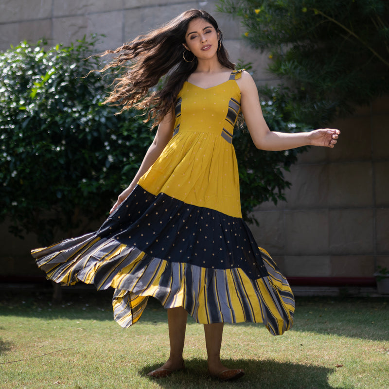 Yellow & Black Tiered Polka Dress with Striped Hem Details