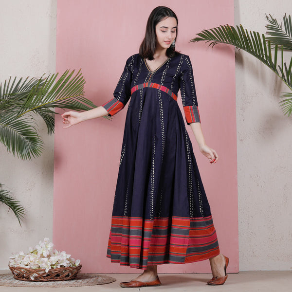 Indigo Long Kalidaar Dress with Border Details