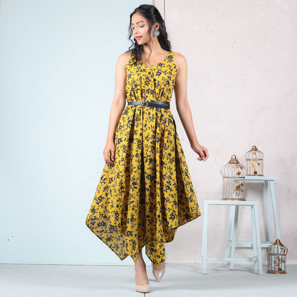 Yellow Blossom Cotton Handkerchief Dress