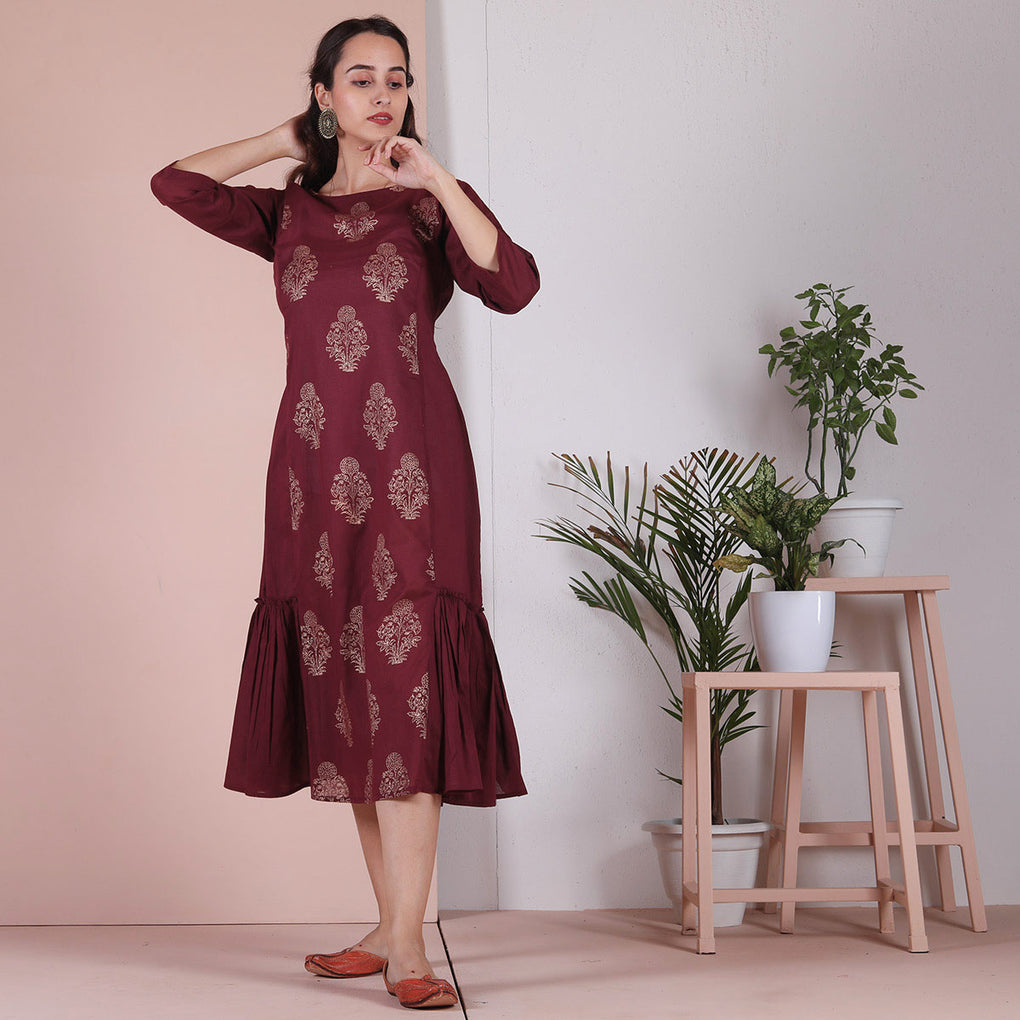 Maroon Panel Dress with Gathered Hem